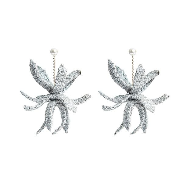 Hand-knitted metallic macrame detailed silver colour claw earrings