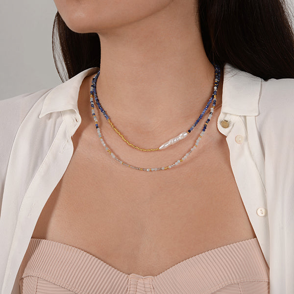 Marion Clementine natural stone necklaces layered