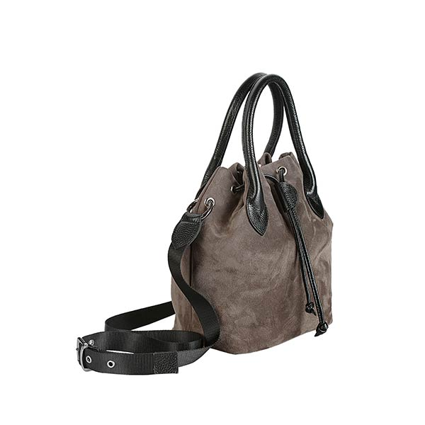 premium leather grey suede shoulder bag