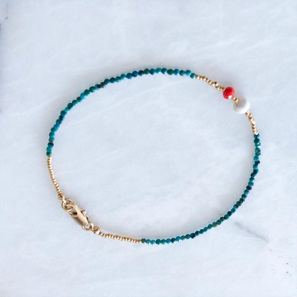 Medi Natural Pearl & Turquoise Anklet