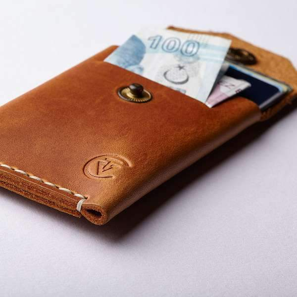 genuine leather micro wallet
