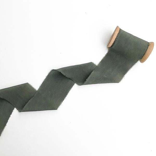 military green colour hand dyed with plant extracts silk ribbon
