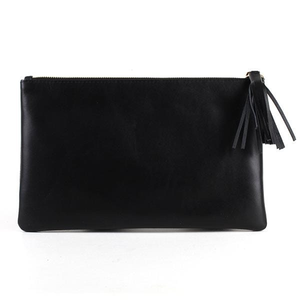 black colour leather back of the mjora clutch