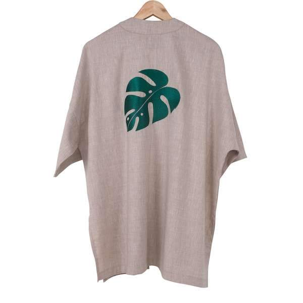 Monstera Leaf embroidery on the backside natural colour kimono