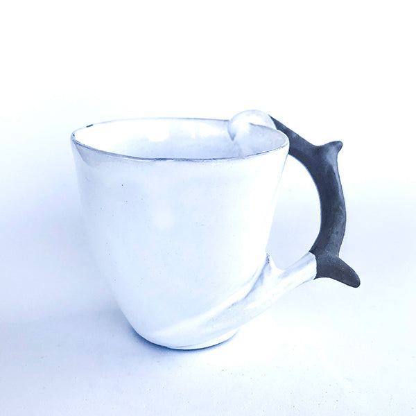 handmade ceramic white colour nature handle tea and coffee cup at hippist