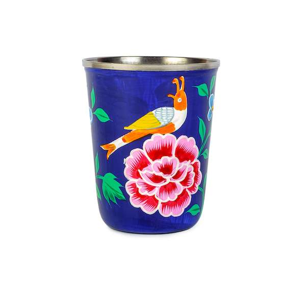 3rd culture hand painted navy small enamel tumbler
