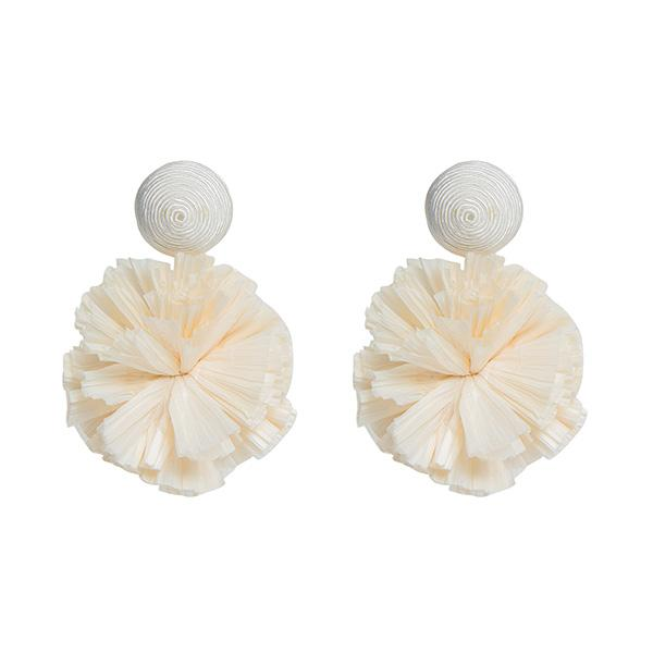 neutral colour silk thread and raffia pompoms detailed earrings