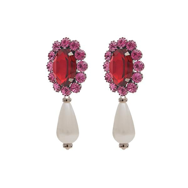 Ninon Oval Pearl Crystal Earrings | Shocking Pink & Crimson