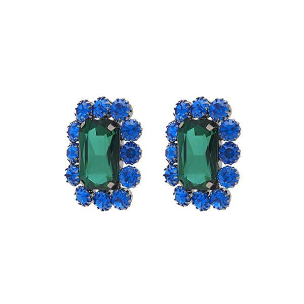 Ninon Square Crystal Earrings | Midnight Blue & Emerald
