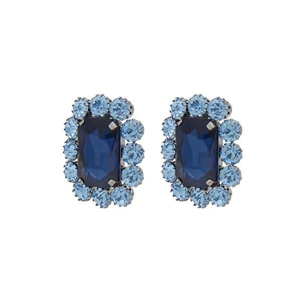 Ninon Square Crystal Earrings | Sky Blue & Sapphire
