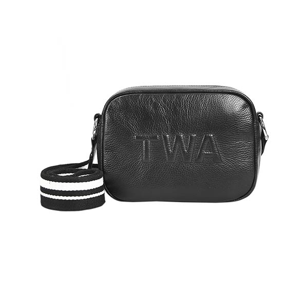 premium leather shoulder bag with black and white strap at hippist