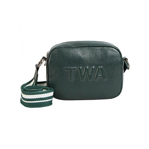 premium leather green colour shoulder bag with green and white strap at hippist
