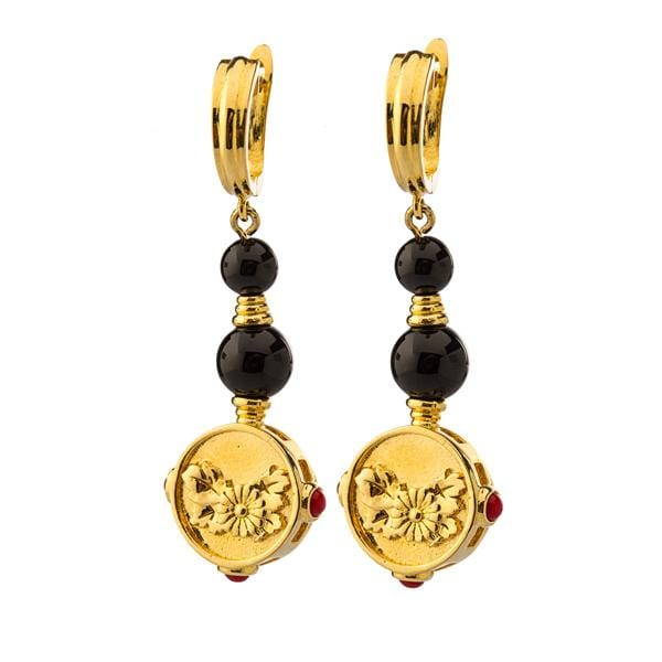 Gold plated bronze with onyx and red enamel details