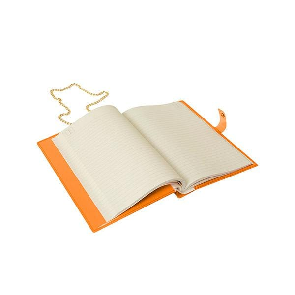 why note!? branded fun note bag series neon orange notebook bag with days cards is open