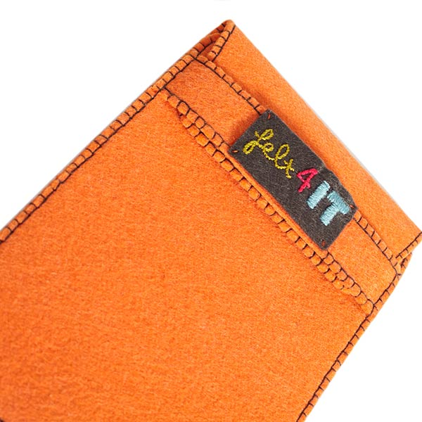 Felt orange tablet case with skull embroidery