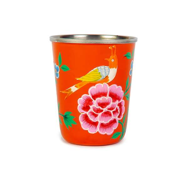 Orange Bird enamelware tumbler
