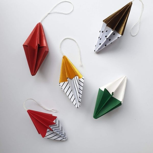 Origami Christmas Tree Ornaments