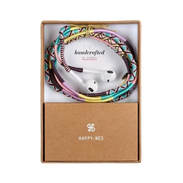 colourful handcrafted Happynes branded earphone in a box
