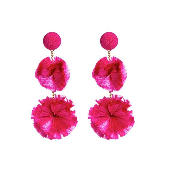 fuchsia colour silk thread and raffia pompoms detailed long earrings