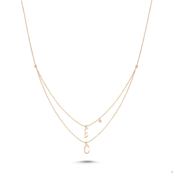 Double Initials Single Diamond Necklace | A to Z