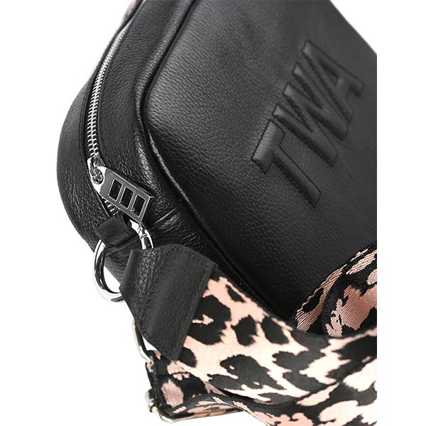 premium leather black colour shoulder bag with pink and black strap