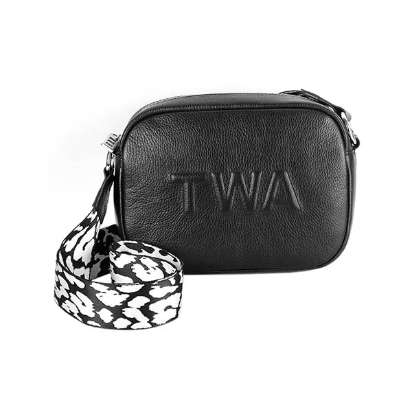 premium leather black colour shoulder bag with black and white strap