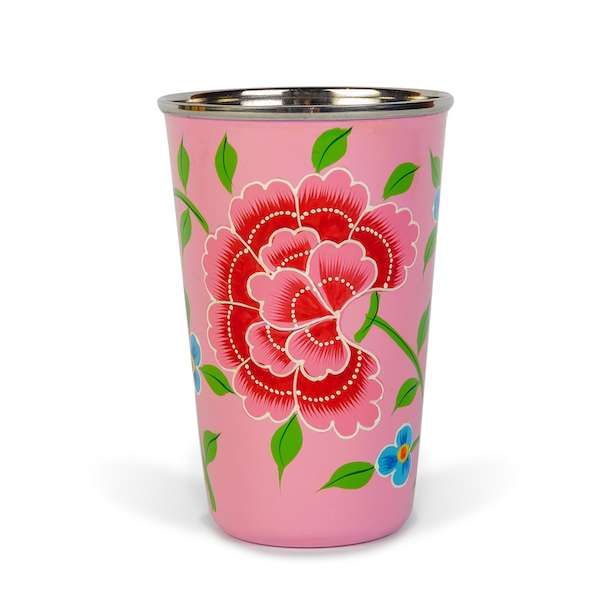 Decorative tableware hand painted pink enamel tumbler with North Indian motifs - hippist.co.uk