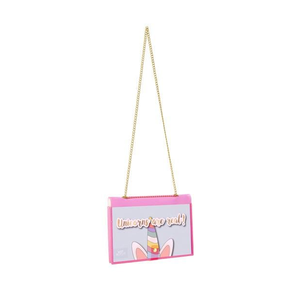 why note!? branded fun note bag series neon pink notebook bag with unicorn card