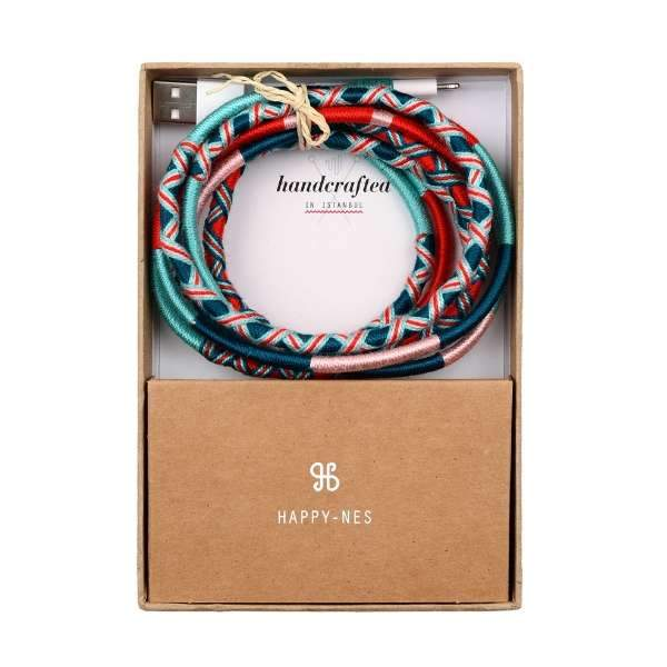 Trendy, handmade, orange, blue, navy blue  Apple iPhone 7 8, X Charging Cable | Pippa XL, 2 mt lenght