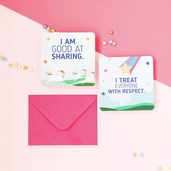 50 colorful positive affirmation cards for kids.