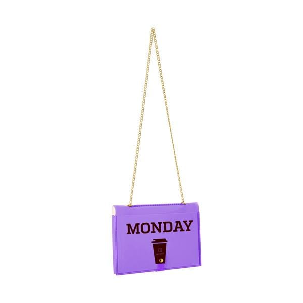 why note!? fun notebag series neon purple bag with monday printed card at hippist.co.uk