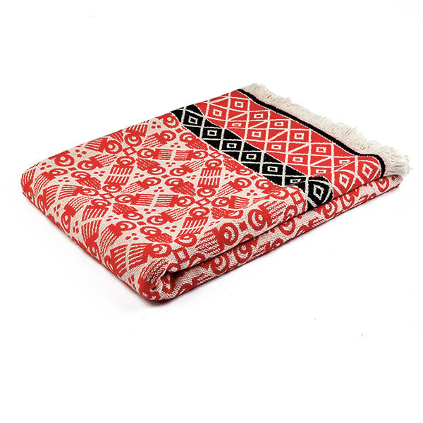 3RD Cutlure wooden comb printed woven red blanket