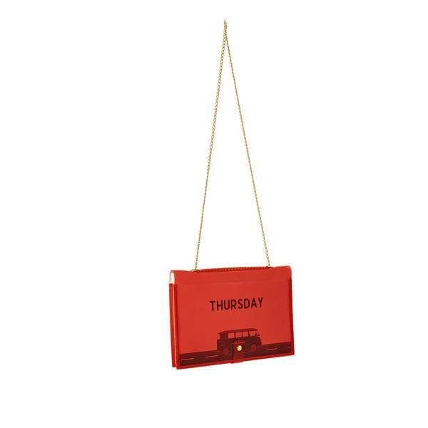 why note!? fun notebag series neon red days bag with thursday printed card at hippist.co.uk