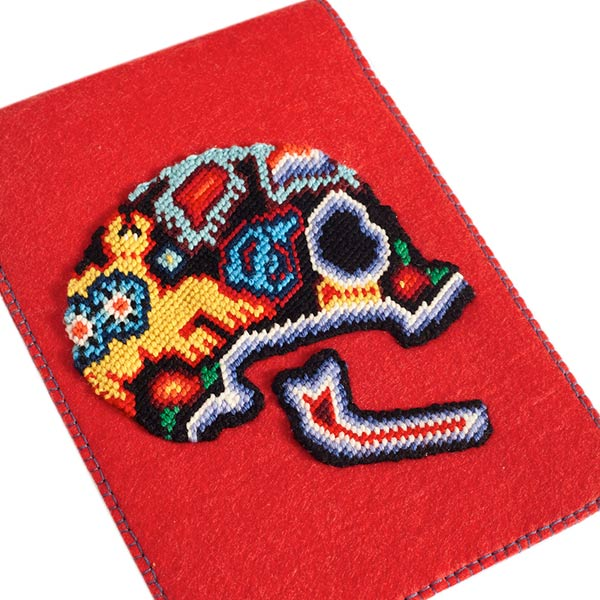 Felt red tablet case with skull embroidery
