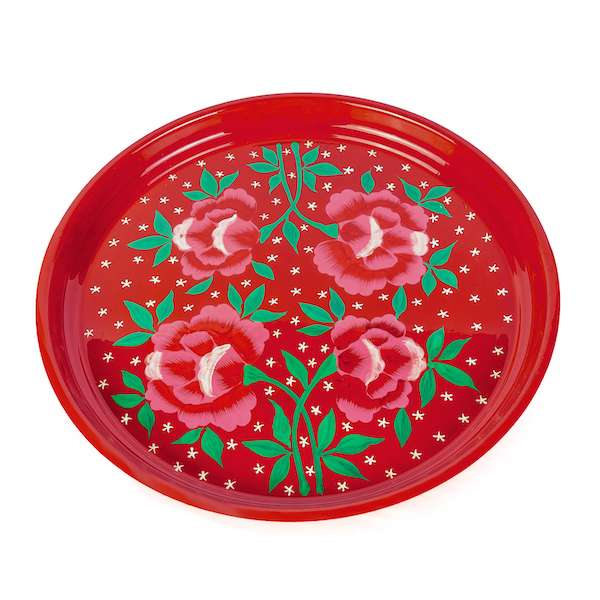 red flower handpainted enamelware tray