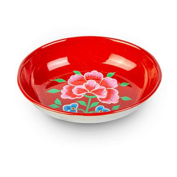 Handpainted mini enamelware red tray