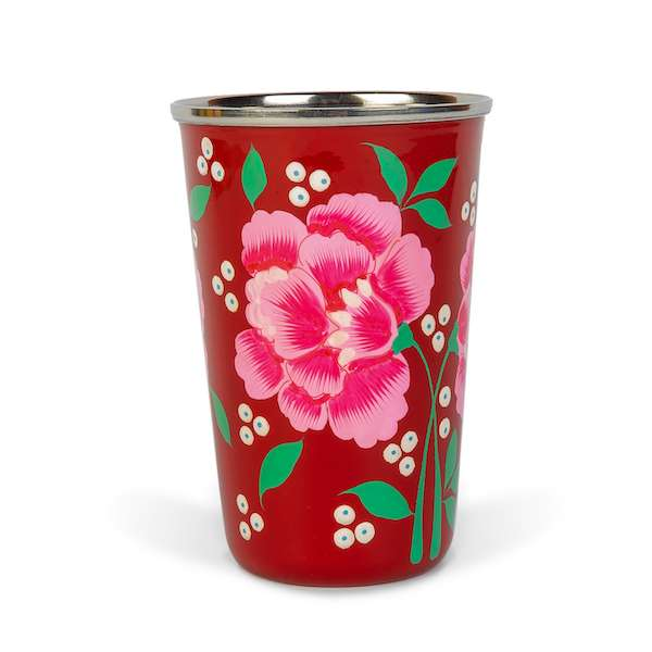 Decorative tableware hand painted purple enamelware tumbler with Red Carnation