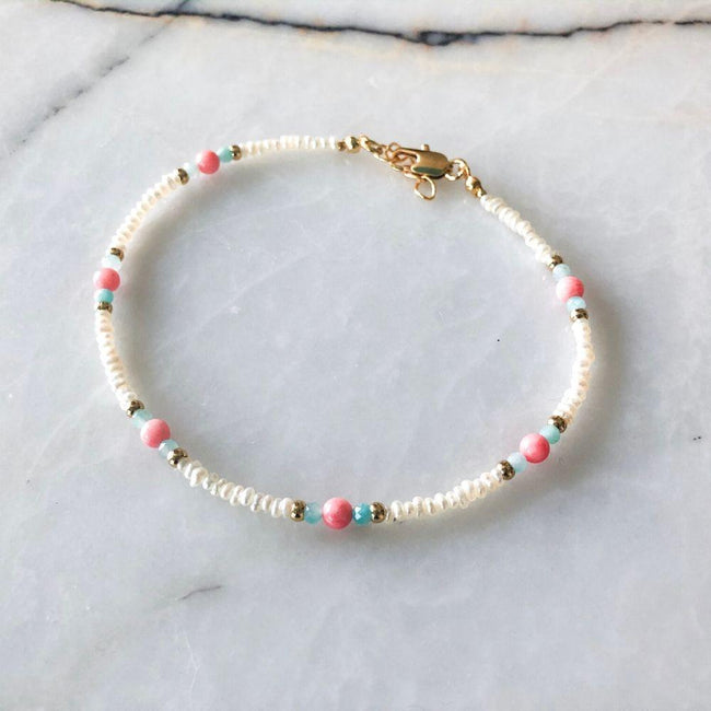 Sandy Natural Pearl Coral & Amazonite Anklet