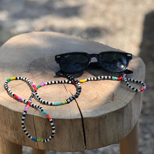 Colourful beaded eyeglass chain