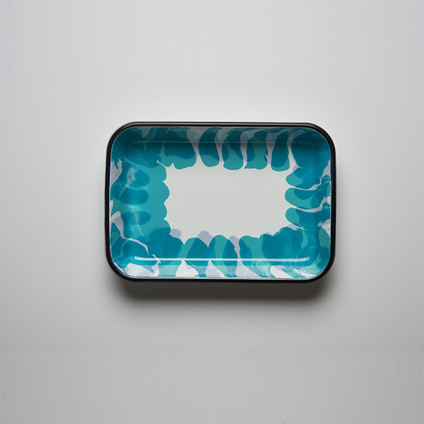 26 x 18 x 4 cm, Turquoise Color Enamel Serving Tray