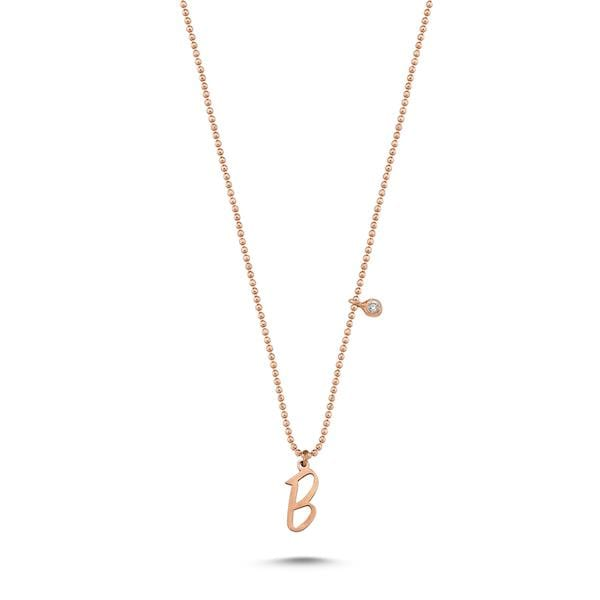 Initials Single Diamond Necklace | A to Z