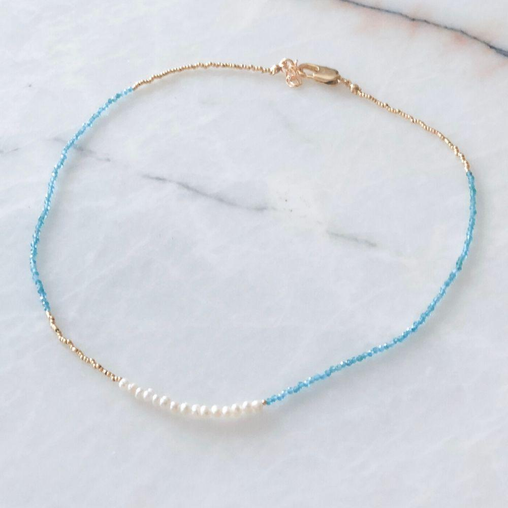 Skylar Natural Pearl Apatite Necklace