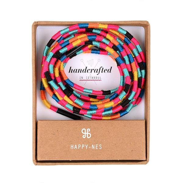 colourful handcrafted happy-nes branded shoe laces in a box