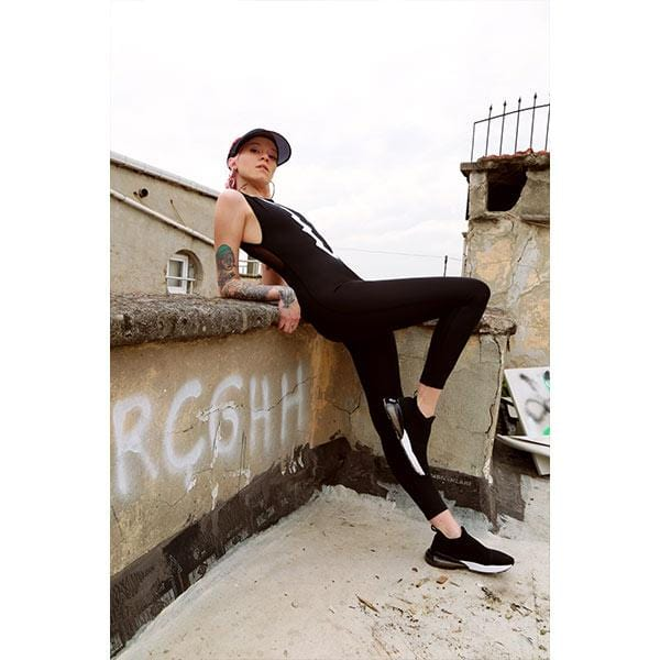 Ryder act branded black and white sports jumpsuit at hippist