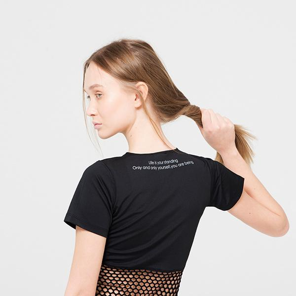 Black Combed Cotton T-shirt With Fishnet Clothing Ryder Act