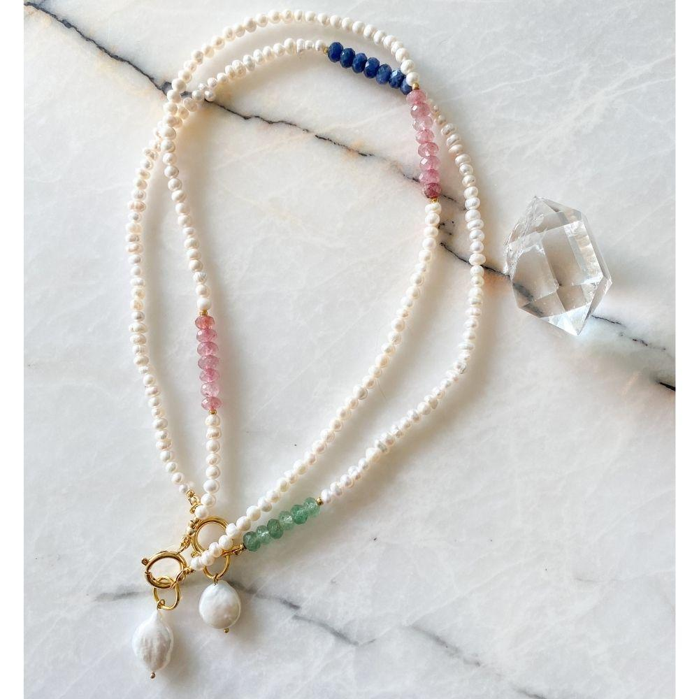 Caitlyn Natural Pearl Aventurine & Sodalite Necklace | Double Trouble Collection