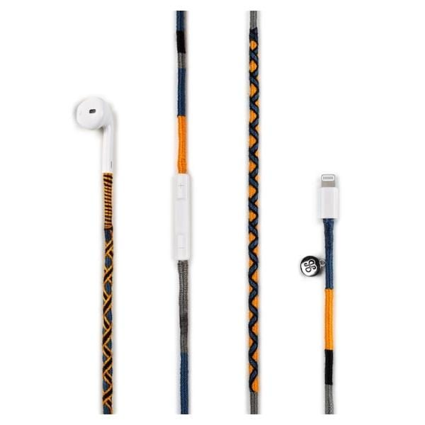 orange blue grey black colours earphone