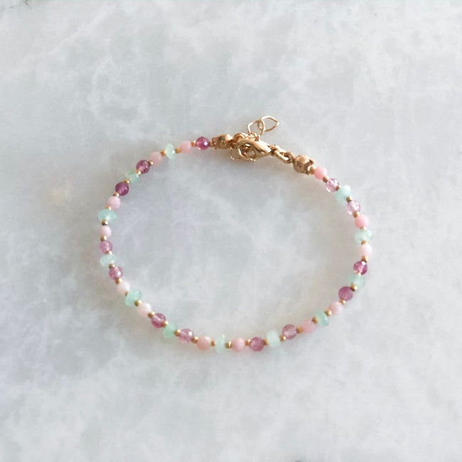 Pink and Green Pink Opal & Jade & Quartz Bracelet