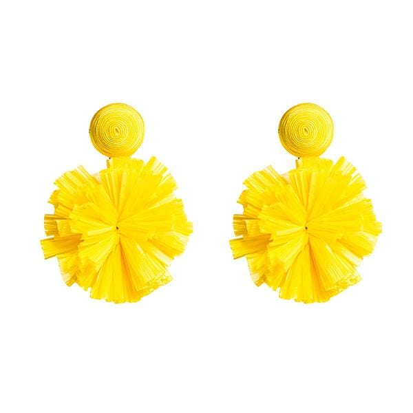 yellow colour silk thread and raffia pompoms detailed earrings