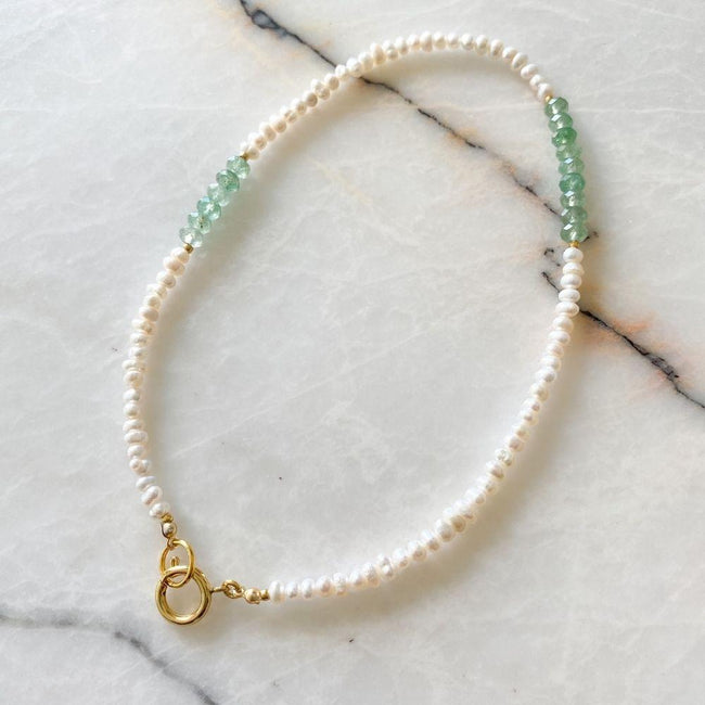 Tamara Natural Pearl Aventurine Necklace | Double Trouble Collection